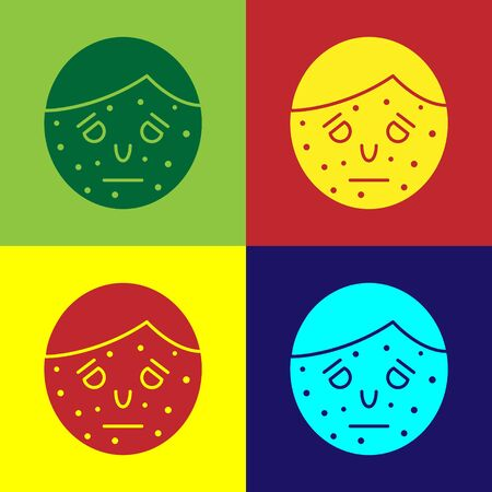 Color Face with psoriasis or eczema icon isolated on color background. Concept of human skin response to allergen or chronic body problem. Vector Illustration