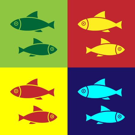 Color Fish icon isolated on color background. Vector Illustration