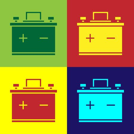 Color Car battery icon isolated on color background. Accumulator battery energy power and electricity accumulator battery. Vector Illustration