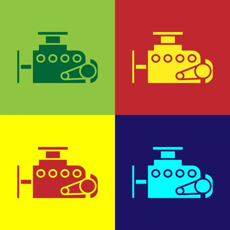 Color Car engine icon isolated on color background. Vector Illustration Ilustração