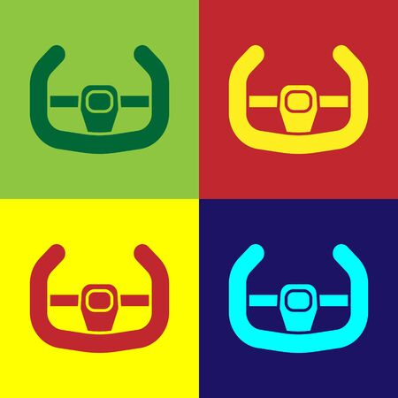 Color Sport steering wheel icon isolated on color background. Car wheel icon. Vector Illustration