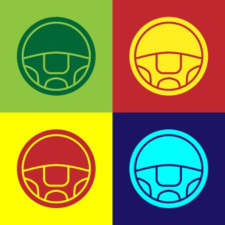 Color Steering wheel icon isolated on color background. Car wheel icon. Vector Illustration