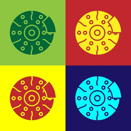 Color Car brake disk with caliper icon isolated on color background. Vector Illustration
