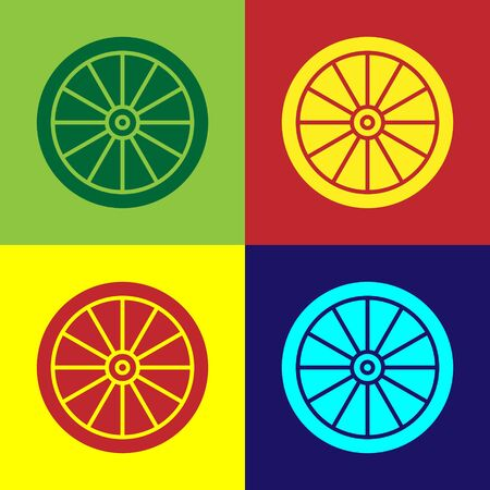 Color Car wheel icon isolated on color background. Vector Illustration