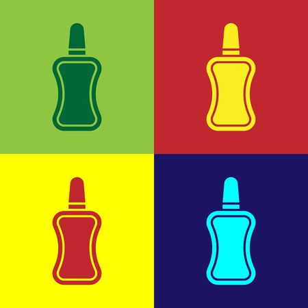 Color Nail polish bottle icon isolated on color background. Vector Illustration