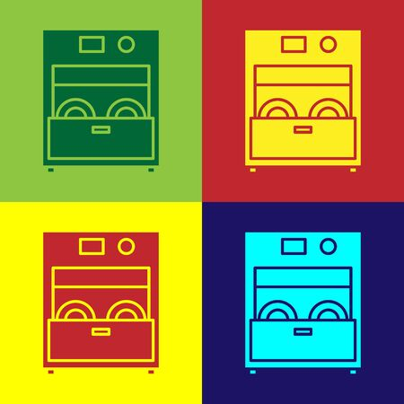 Color Kitchen dishwasher machine icon isolated on color background. Vector Illustration