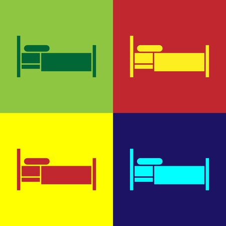 Color Bed icon isolated on color background. Vector Illustration Çizim