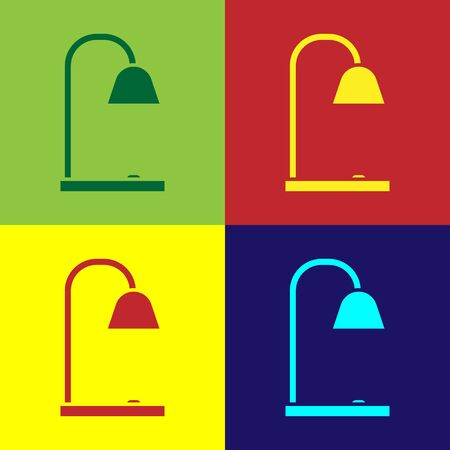 Color Table lamp icon isolated on color background. Vector Illustration