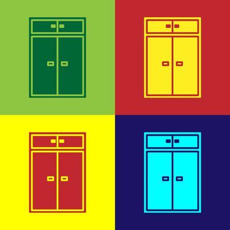 Color Wardrobe icon isolated on color background. Vector Illustration Ilustração