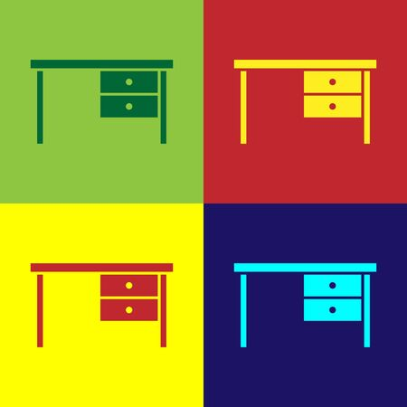 Color Office desk icon isolated on color background. Vector Illustration