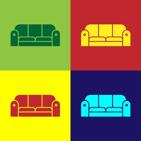 Color Sofa icon isolated on color background. Vector Illustration