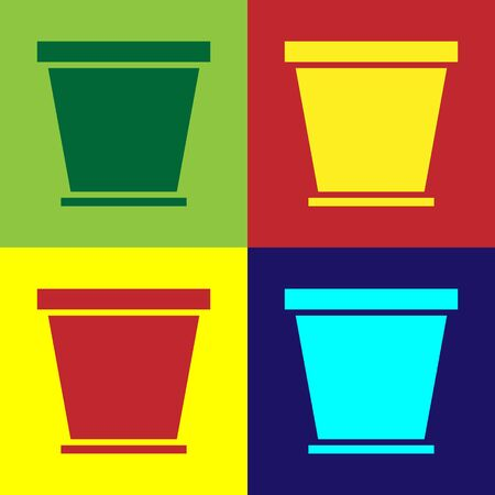 Color Flower pot icon isolated on color background. Vector Illustration