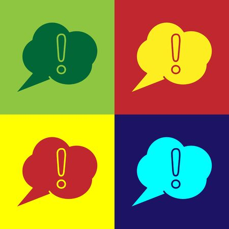 Color Speech bubble and Exclamation icon isolated on color background. FAQ sign. Copy files, chat speech bubble and chart. Vector Illustration