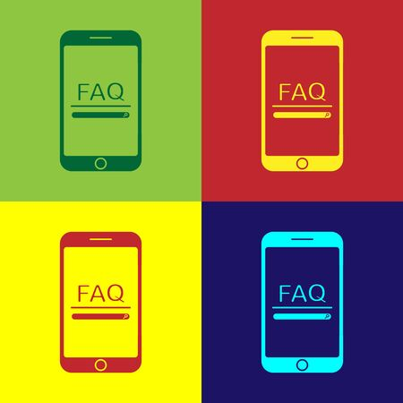 Color Mobile phone with text FAQ information icon isolated on color background. Frequently asked questions. Vector Illustration