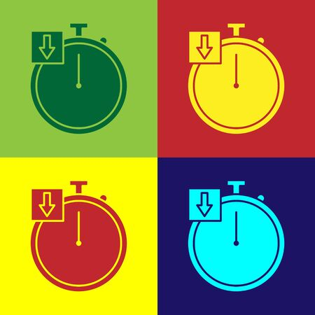 Color Stopwatch icon isolated on color background. Time timer sign. Chronometer. Vector Illustration