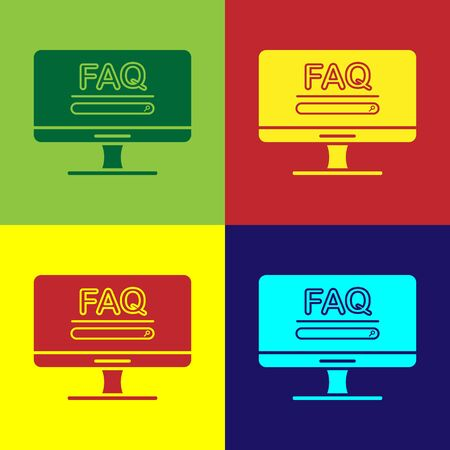 Color Computer monitor with text FAQ information icon isolated on color background. Frequently asked questions. Vector Illustration