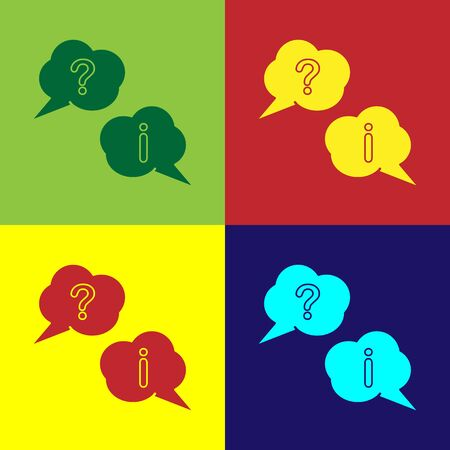 Color Speech bubbles with Question and Exclamation icon isolated on color background. FAQ sign. Copy files, chat speech bubble and chart. Vector Illustration Reklamní fotografie - 138111051