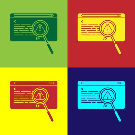 Color System bug concept icon isolated on color background. Code bug concept. Bug in the system. Bug searching. Vector Illustration Ilustracja