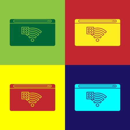 Color No Internet connection icon isolated on color background. No wireless wifi or sign for remote internet access. Vector Illustration