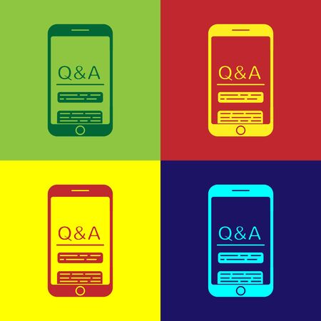 Color Mobile phone with Question and Exclamation icon isolated on color background. Frequently asked questions. Vector Illustration