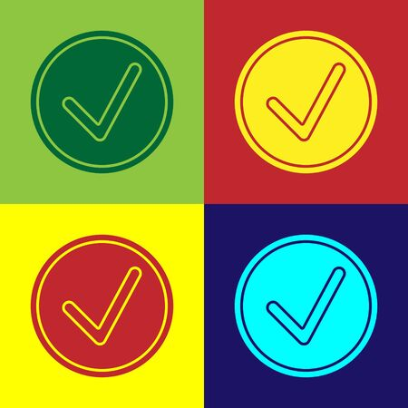 Color Check mark in circle icon isolated on color background. Choice button sign. Checkmark symbol. Vector Illustration Ilustração