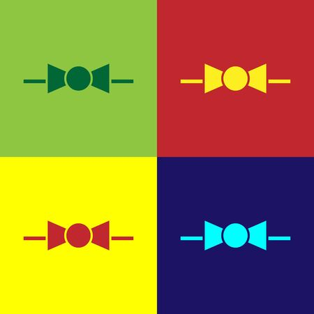 Color Bow tie icon isolated on color background. Vector Illustration
