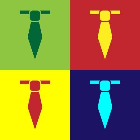Color Tie icon isolated on color background. Necktie and neckcloth symbol. Vector Illustration Ilustração