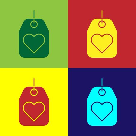 Color Heart tag icon isolated on color background. Love symbol. Valentine day symbol. Vector Illustration Stock fotó - 138111045
