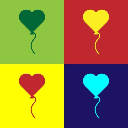Color Balloons in form of heart with ribbon icon isolated on color background. Valentines day symbol. Vector Illustration