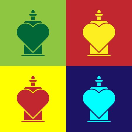 Color Bottle with love potion icon isolated on color background. Valentines day symbol. Vector Illustration