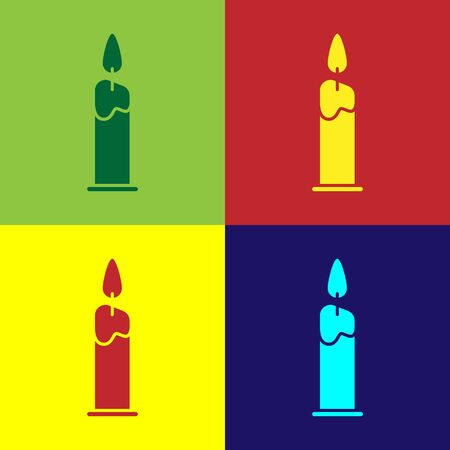 Color Burning candle in candlestick icon isolated on color background. Cylindrical candle stick with burning flame. Vector Illustration