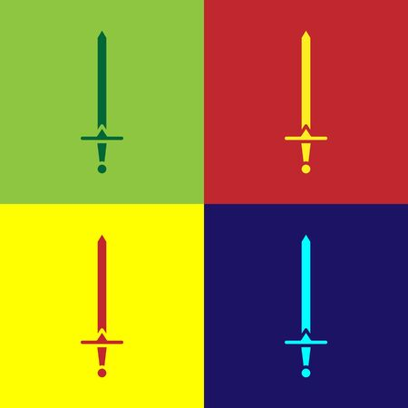 Color Medieval sword icon isolated on color background. Medieval weapon. Vector Illustration  イラスト・ベクター素材
