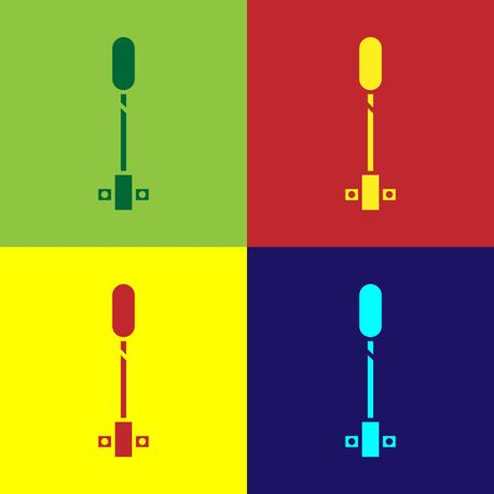 Color Torch flame icon isolated on color background. Symbol fire hot, flame power, flaming and heat. Vector Illustration