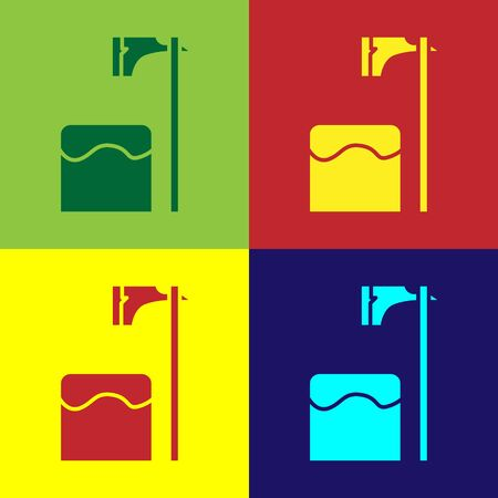 Color Executioner axe in tree block icon isolated on color background. Hangman, torturer, executor, tormentor, butcher, headsman. Vector Illustration