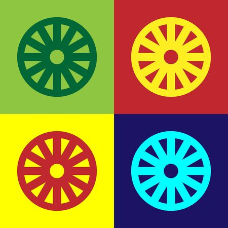 Color Old wooden wheel icon isolated on color background. Vector Illustration