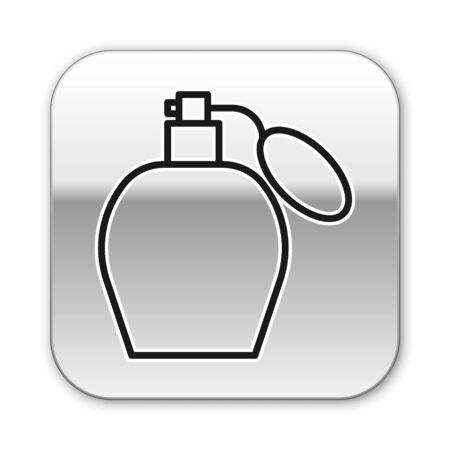 Black line Perfume icon isolated on white background. Silver square button. Vector Illustration