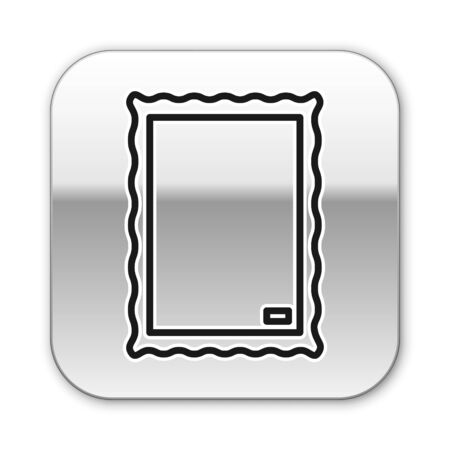 Black line Picture icon isolated on white background. Silver square button. Vector Illustration