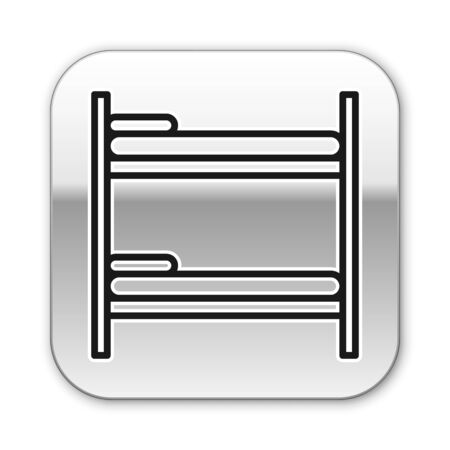 Black line Bunk bed icon isolated on white background. Silver square button. Vector Illustration