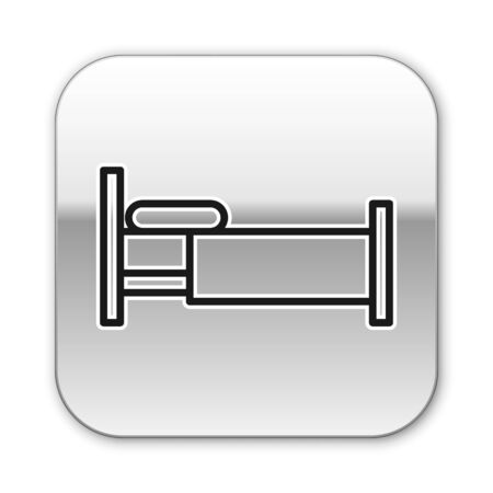 Black line Bed icon isolated on white background. Silver square button. Vector Illustration Çizim