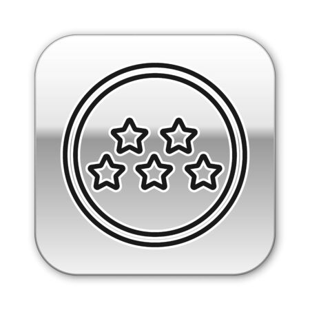 Black line Five stars customer product rating review icon isolated on white background. Favorite, best rating, award symbol. Silver square button. Vector Illustration