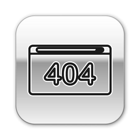 Black line Page with a 404 error icon isolated on white background. Template reports that the page is not found. Silver square button. Vector Illustration