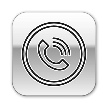 Black line Phone call icon isolated on white background. Silver square button. Vector Illustration