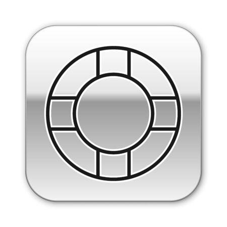 Black line Lifebuoy icon isolated on white background. Lifebelt symbol. Silver square button. Vector Illustration