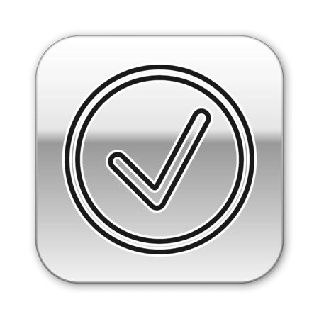 Black line Check mark in circle icon isolated on white background. Choice button sign. Checkmark symbol. Silver square button. Vector Illustration