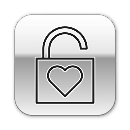Black line Lock and heart icon isolated on white background. Locked Heart. Love symbol and keyhole sign. Valentines day symbol. Silver square button. Vector Illustration