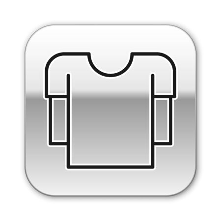 Black line Long sleeve shirt icon isolated on white background. Silver square button. Vector Illustration