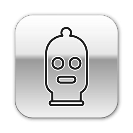 Black line Balaclava icon isolated on white background. A piece of clothing for winter sports or a mask for a criminal or a thief. Silver square button. Vector Illustration