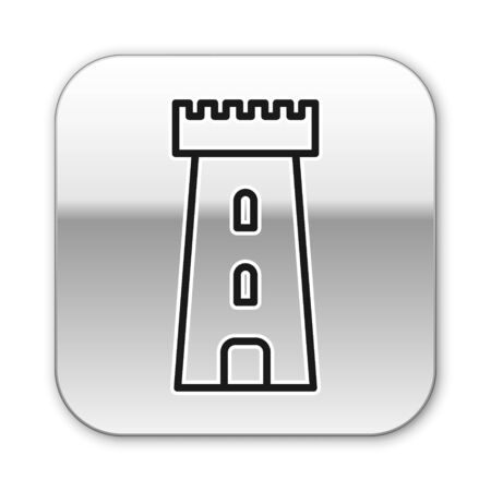 Black line Castle tower icon isolated on white background. Fortress sign. Silver square button. Vector Illustration