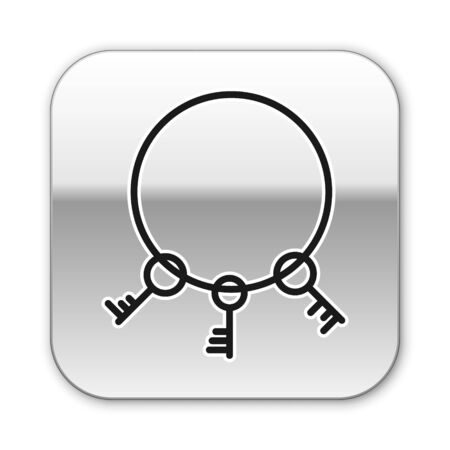Black line Old keys icon isolated on white background. Silver square button. Vector Illustration