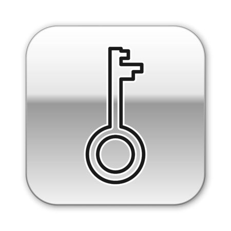 Black line Old key icon isolated on white background. Silver square button. Vector Illustration Ilustracja